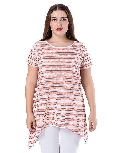 Chicwe Túnicas Tops Tallas Grandes Mujeres Camiseta Estampado Manga Corta Hanky Dobladillo EU44-58