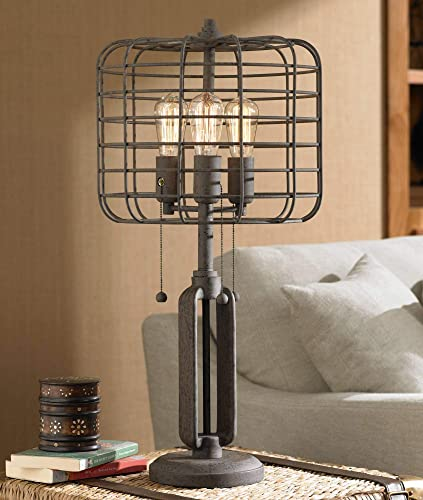 Industrial Table Lamp Rustic Metal Cage Accent Antique Edison Bulb for Living Room Family Bedroom Bedside Nightstand – Franklin Iron Works