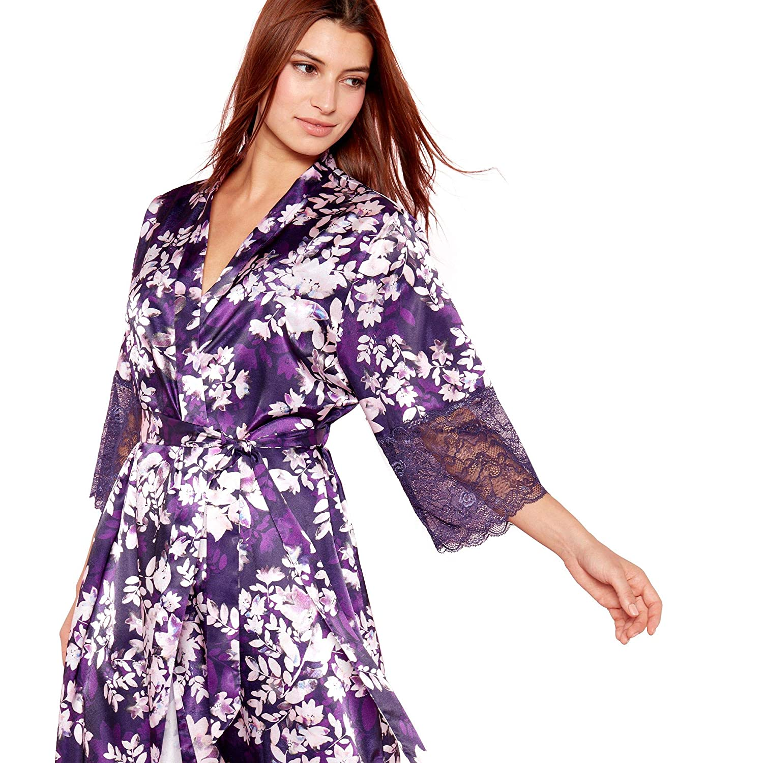 Debenhams The Collection Womens Purple Floral Print  Mystry  Satin Kimono  Dressing Gown  The Collection  Amazon.co.uk  Clothing 8c3d3db2d