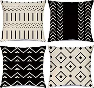 Hlonon Decorative Boho Throw Pillow Covers for Couch Set of 4 Modern Sofa Decorative Stripes Geometric Linen Fabric Pillow Case for Bed Sofa Living Room Home Decoration (Black, 18x18 Inch)