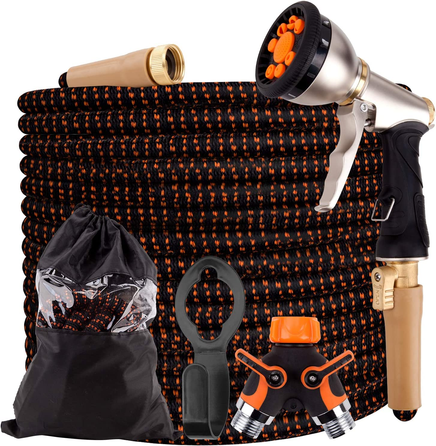 Expandable Garden Hose, Durable 3750D, 4-Layers Latex, 2-Way Splitter, 3/4