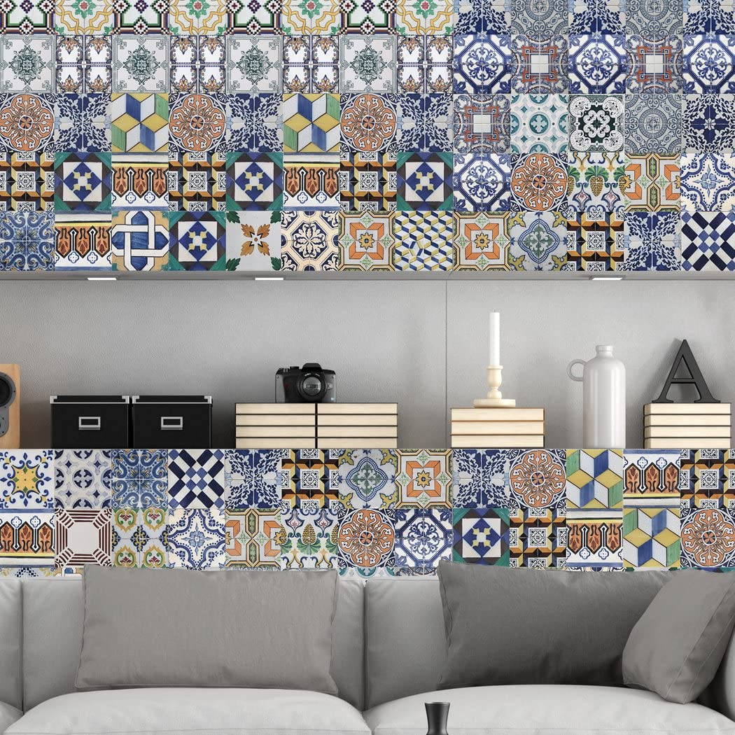 - Portuguese Tiles Stickers Amadora - Pack Of 36 - Tile Decals Art