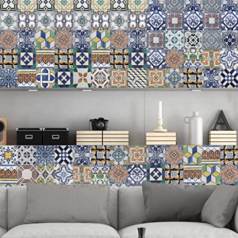 Portuguese Tiles Stickers Amadora Pack of 36 Tile Decals Art for