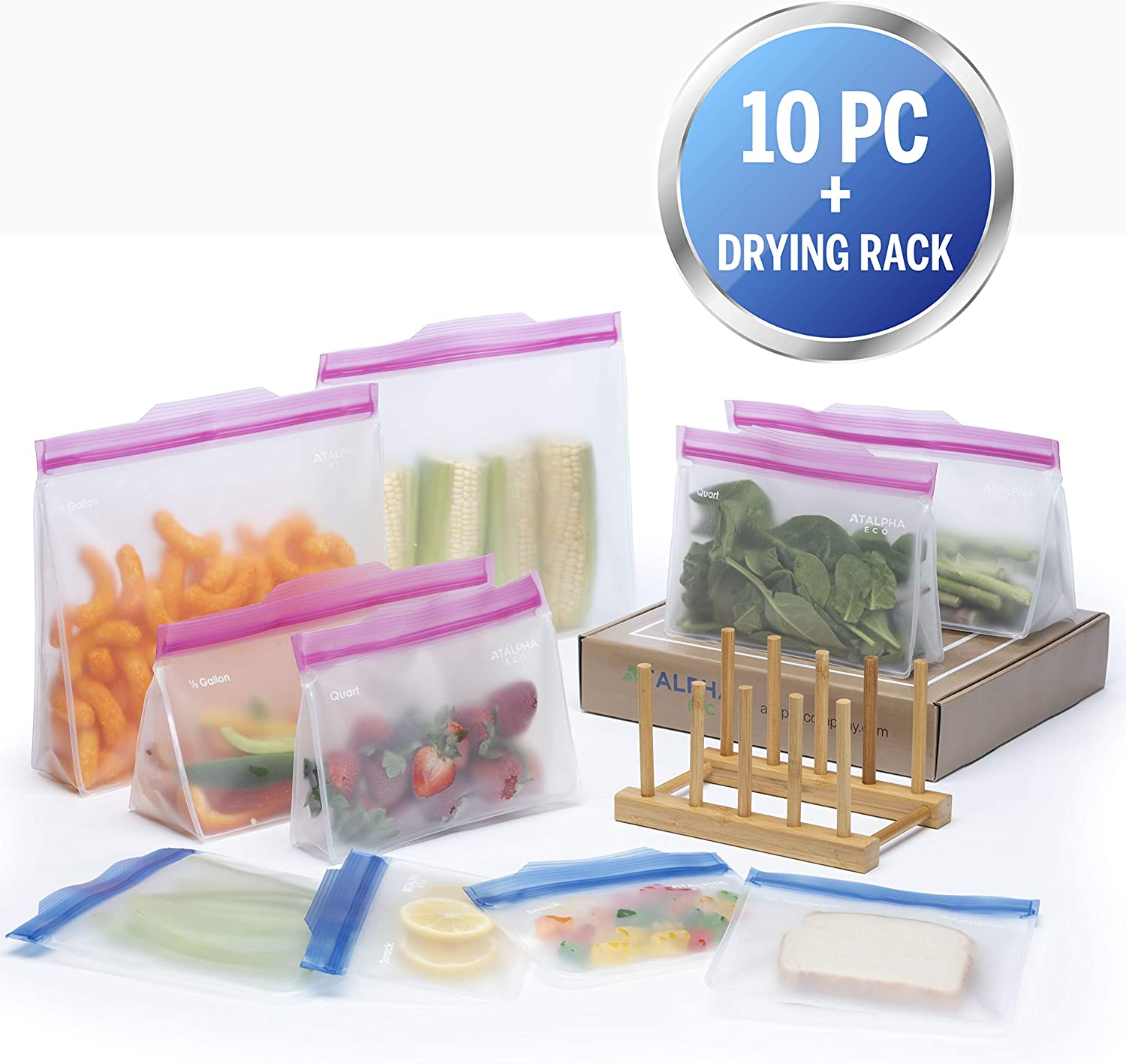 Atalpha Premium Reusable Baggies with Easy Open Tabs & Drying Rack |10 Pc Set: 6 Stand Up Reusable Storage Bags | 2 Reusable Sandwich Bags | 2 Snack Bags | Bamboo Drying Rack | Reusable Ziplock Bags