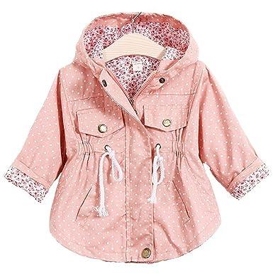 59f43cb05 Amazon.com: Kids Girls' Spring Autumn Coat Jackets Baby Polka Dot Hoodies:  Clothing