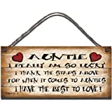 SHABBY CHIC FUNNY SIGN AUNTIE I REALLY AM LUCKY GIFT PRESENT 115