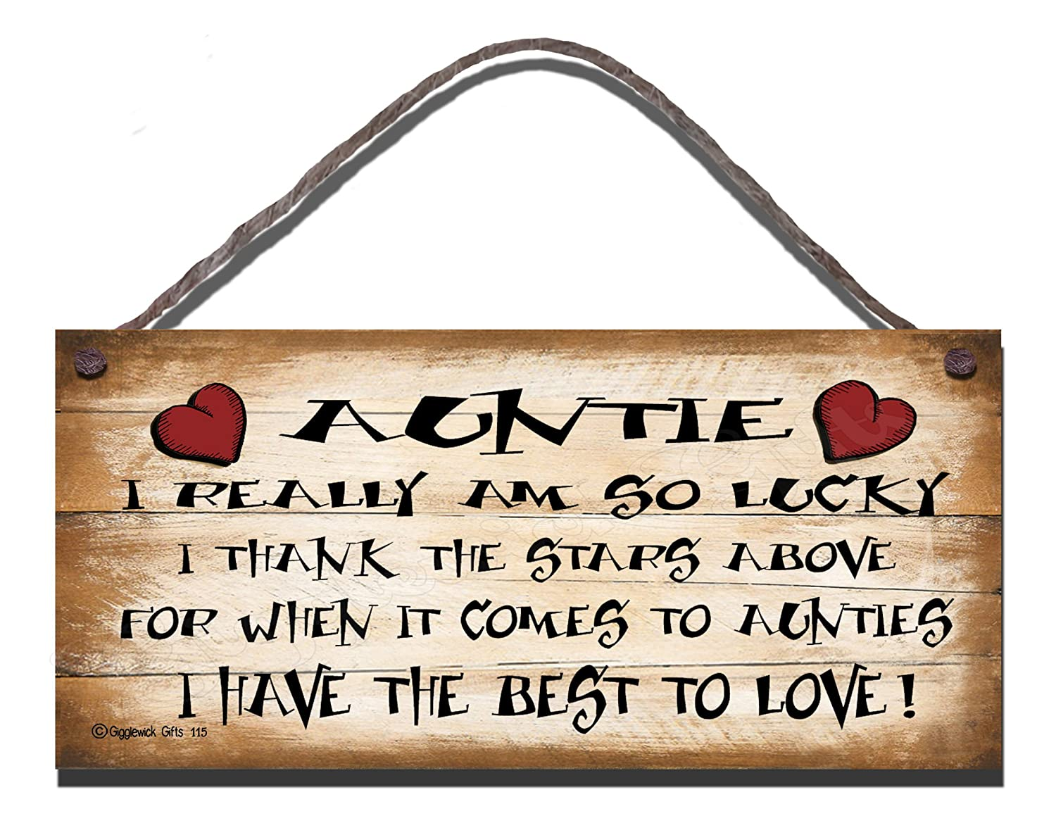 Shabby Chic Wooden Funny Sign Wall Plaque Gift Present Auntie I Really Am So Lucky 115 Gigglewick Gifts