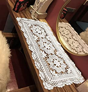 Janef White Handmade Crochet Cotton Table Runner Lace Doilies Doily Rectangle Dresser Scarves,16 by 28 Inches.