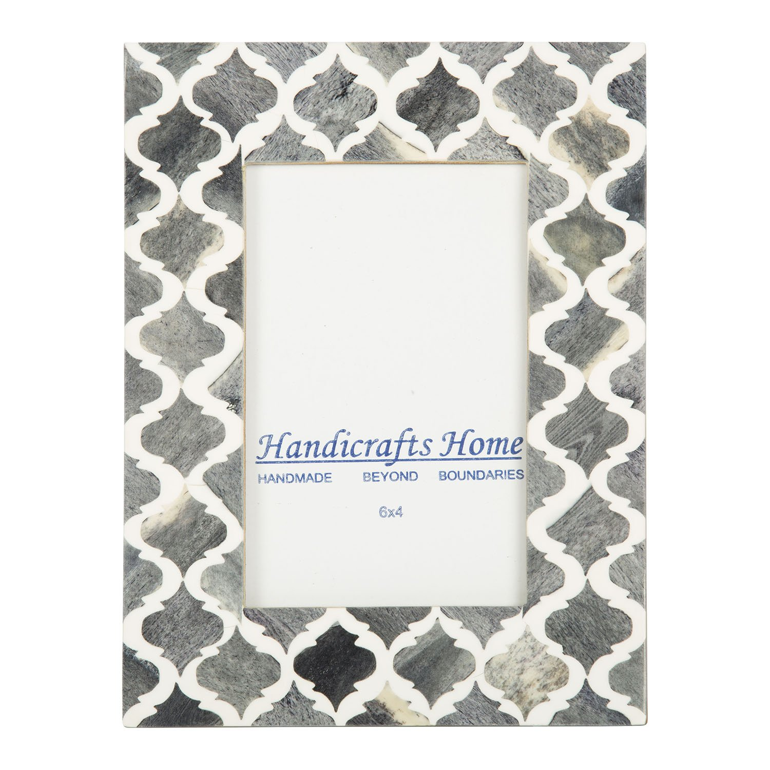 Picture Photo Frame Moorish Damask Moroccan Arts Inspired Handmade Naturals Bone Frames Photo Size 4x6 & 5X7 Inches (4X6, Gray & White) by Handicrafts Home