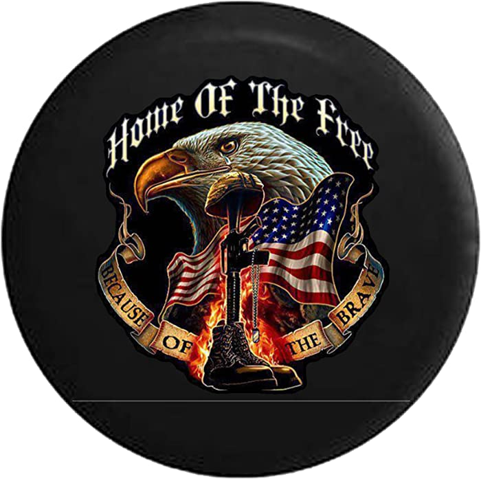 Home of Free Because of The Brave Military Rememberance Boots Rifle with Flag & Eagle Spare Tire Cover fits SUV Camper RV Accessories 33 in