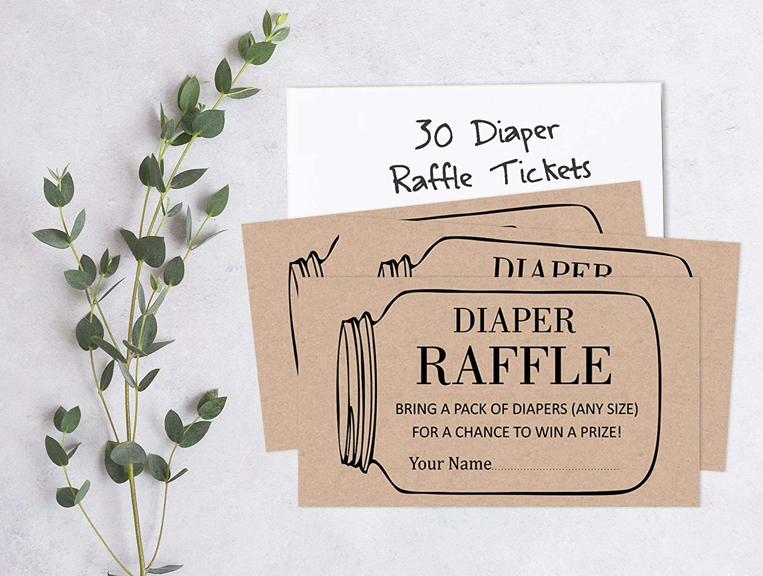 Inkdotpot 30/Baby Shower/Diaper Raffle Ticket Lottery Insert Cards Supplies Games for Baby Shower Party Gender Neutral Bring A Pack of Rustic Diapers to Win Favors Gifts and Prizes