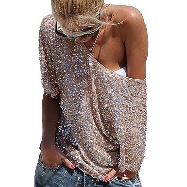 Isassy Womens Loose Sparkle Sequin Glitter Bling Shiny Slim Shirt