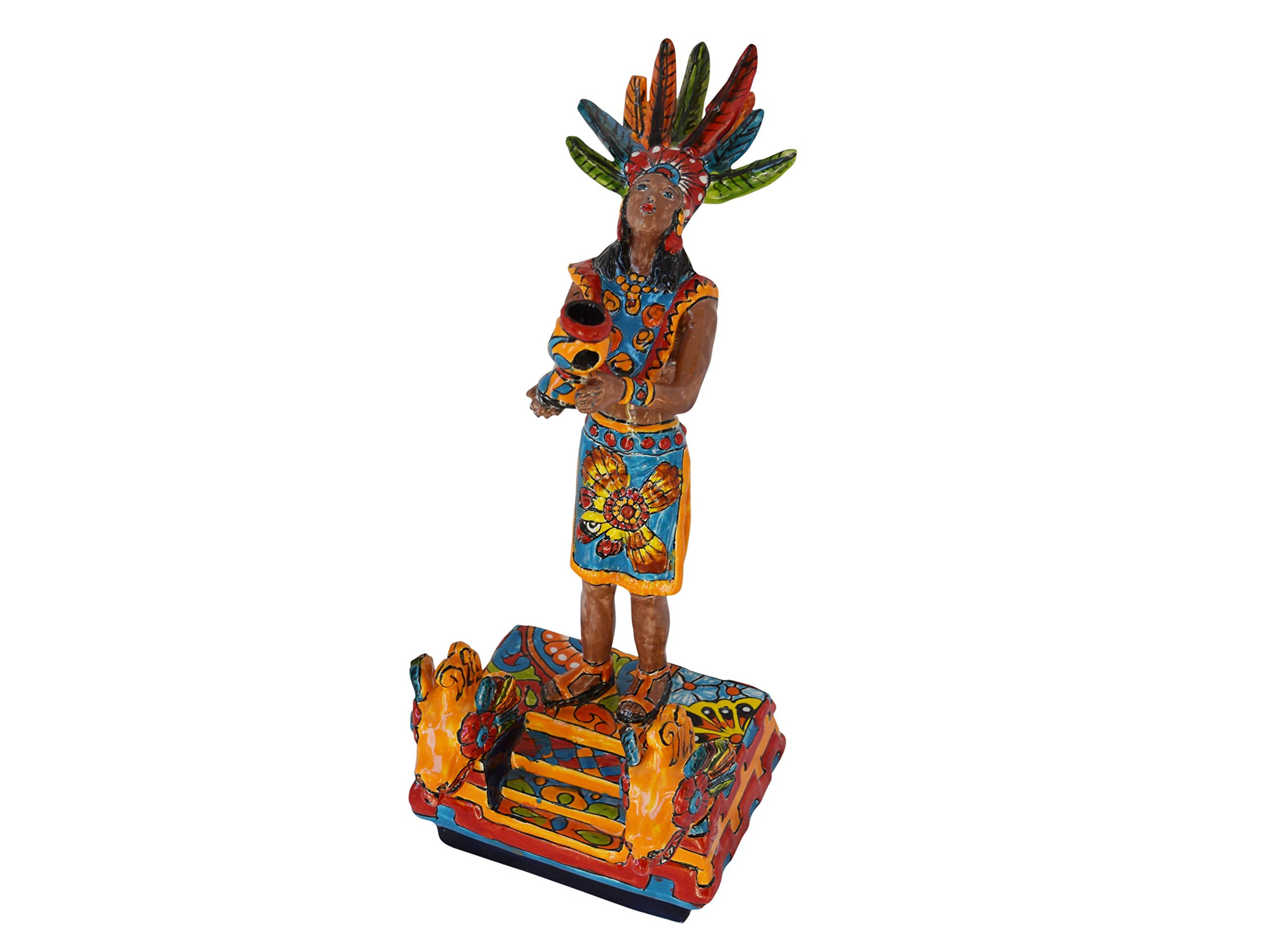 Aztec Priestess Ceramic Talavera Figure Home Kitchen Patio Garden Decor