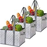 WiseLife Reusable Grocery Bags Storage Baskets Shopping Bags [3 Pack],Water Resistant Foldable Collapsible Large Storage…