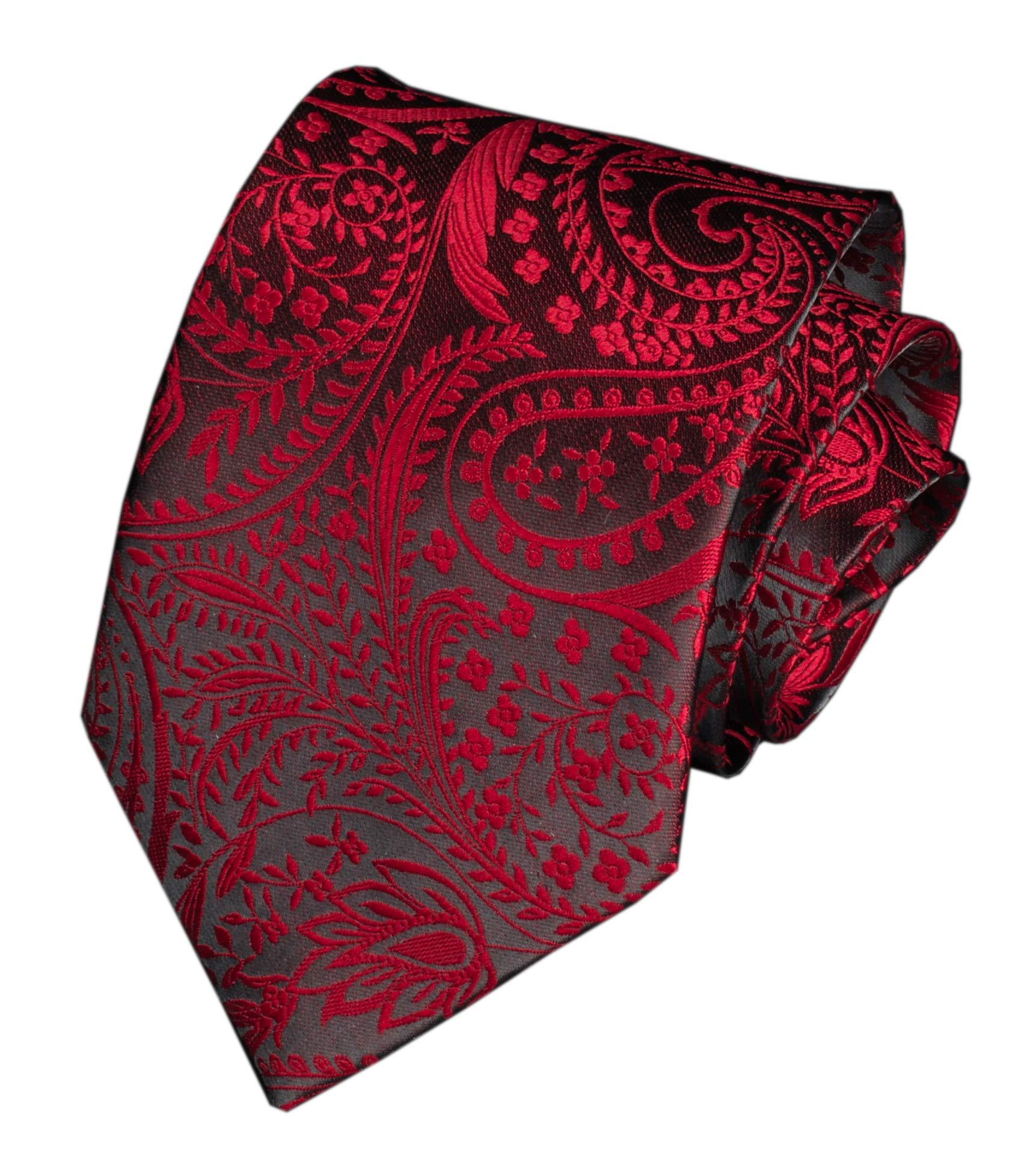Mens Burgundy RED Black Slik Tie Adult Formal Sunny Self Modern Necktie Dad Gift
