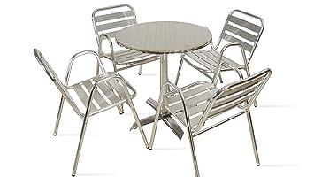 Boutique jardín – mesa redonda de jardín (aluminio y 4 sillones