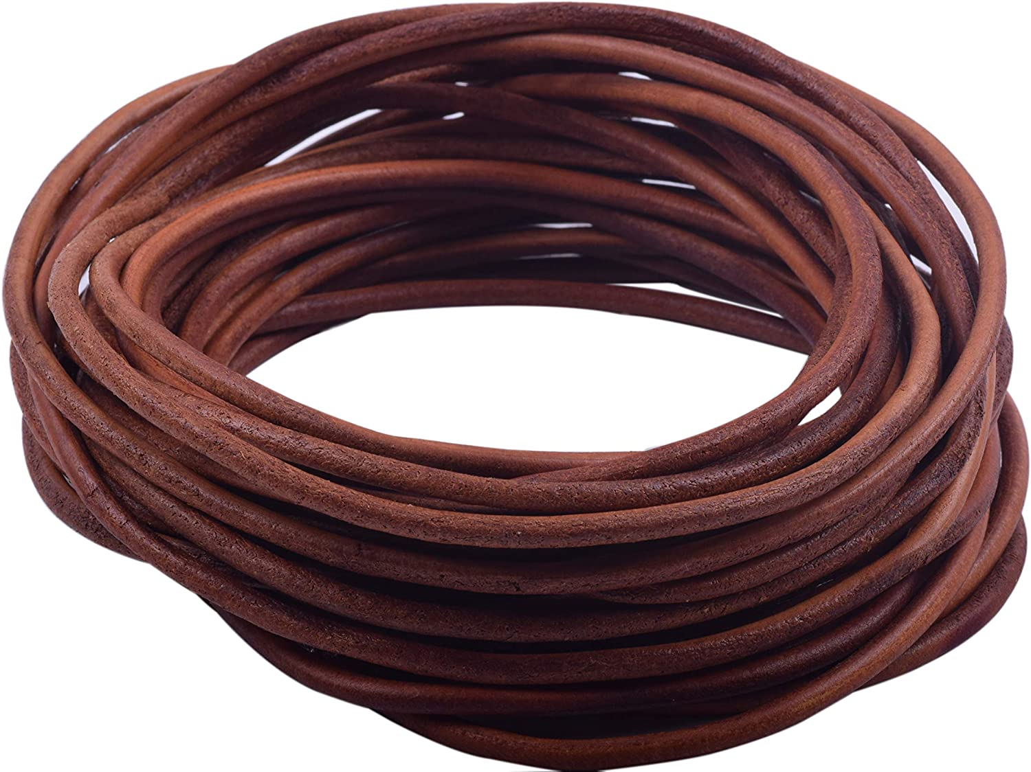Brown KONMAY 10 Yards 3.0mm Solid Round Real Leather Cord for Jewelry Making Crafting Beading
