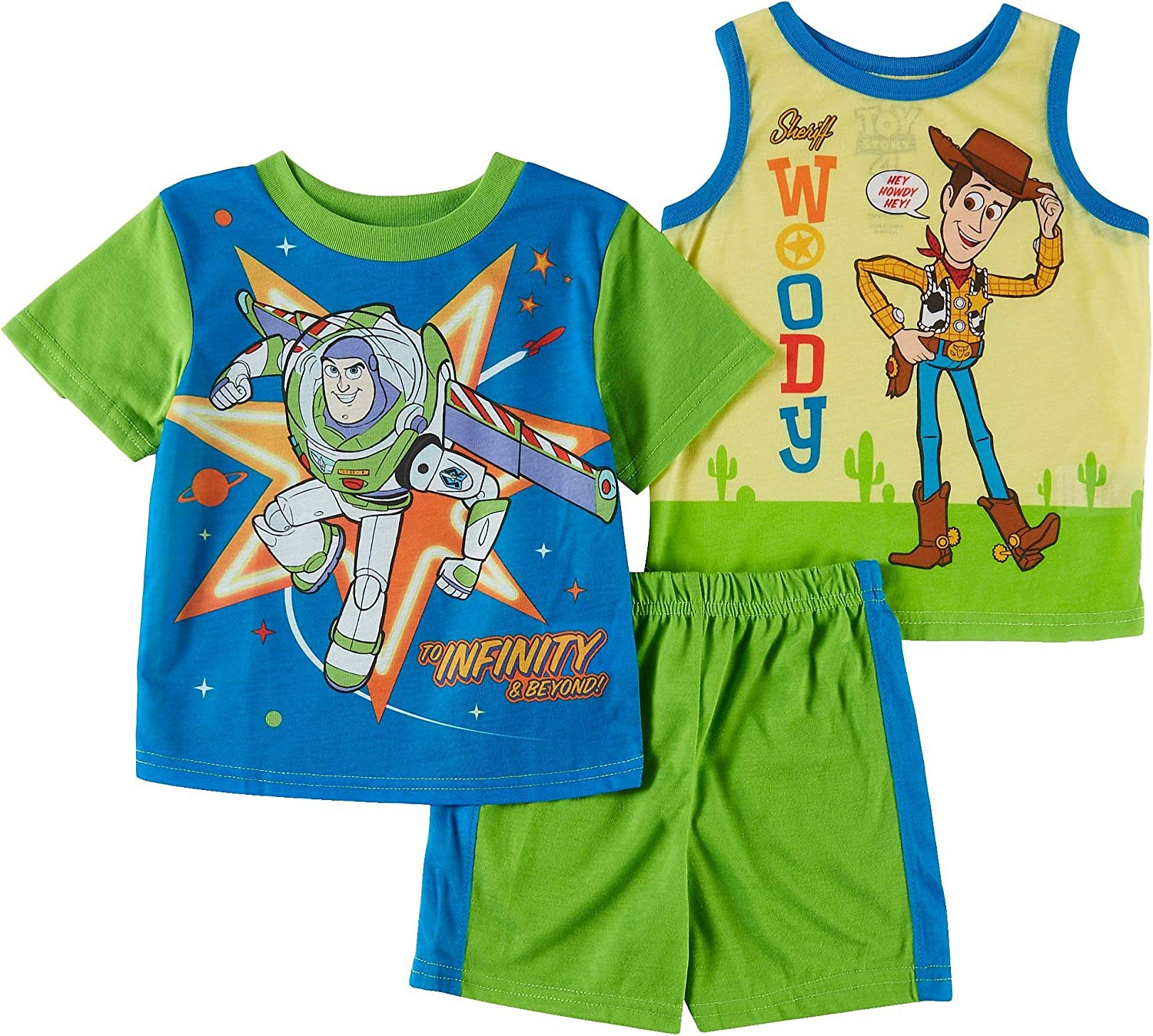 New Toy Story Buzz Lightyear Boys 3pc cotton shirt tank top 3//4 pants outift set