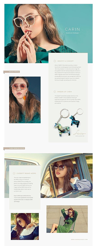 48a28aa15fa Amazon.com  CARIN 2018 Hollywood Star Madeleine Sunglasses for Women(Black)   Clothing