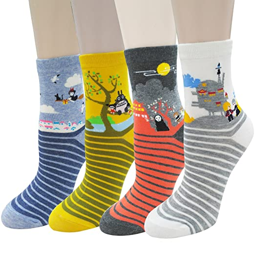 Cute Animal Design Women's Casual Comfortable Cotton Crew 4-Pack Socks