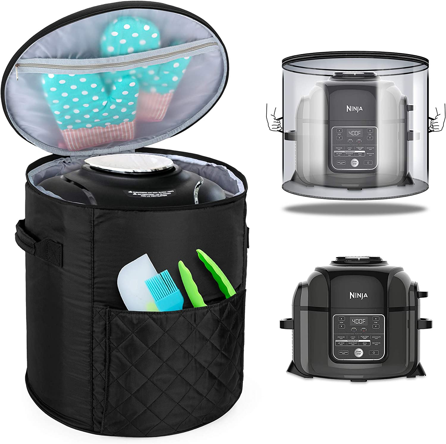 Luxja Cover Compatible with Ninja Foodi Pressure Cooker (Totally Enclosed with Side Handles), Pressure Cooker Cover Compatible with Ninja Foodi (Fits for 6.5 Quart and 8 Quart), Black (Quilted Fabric)