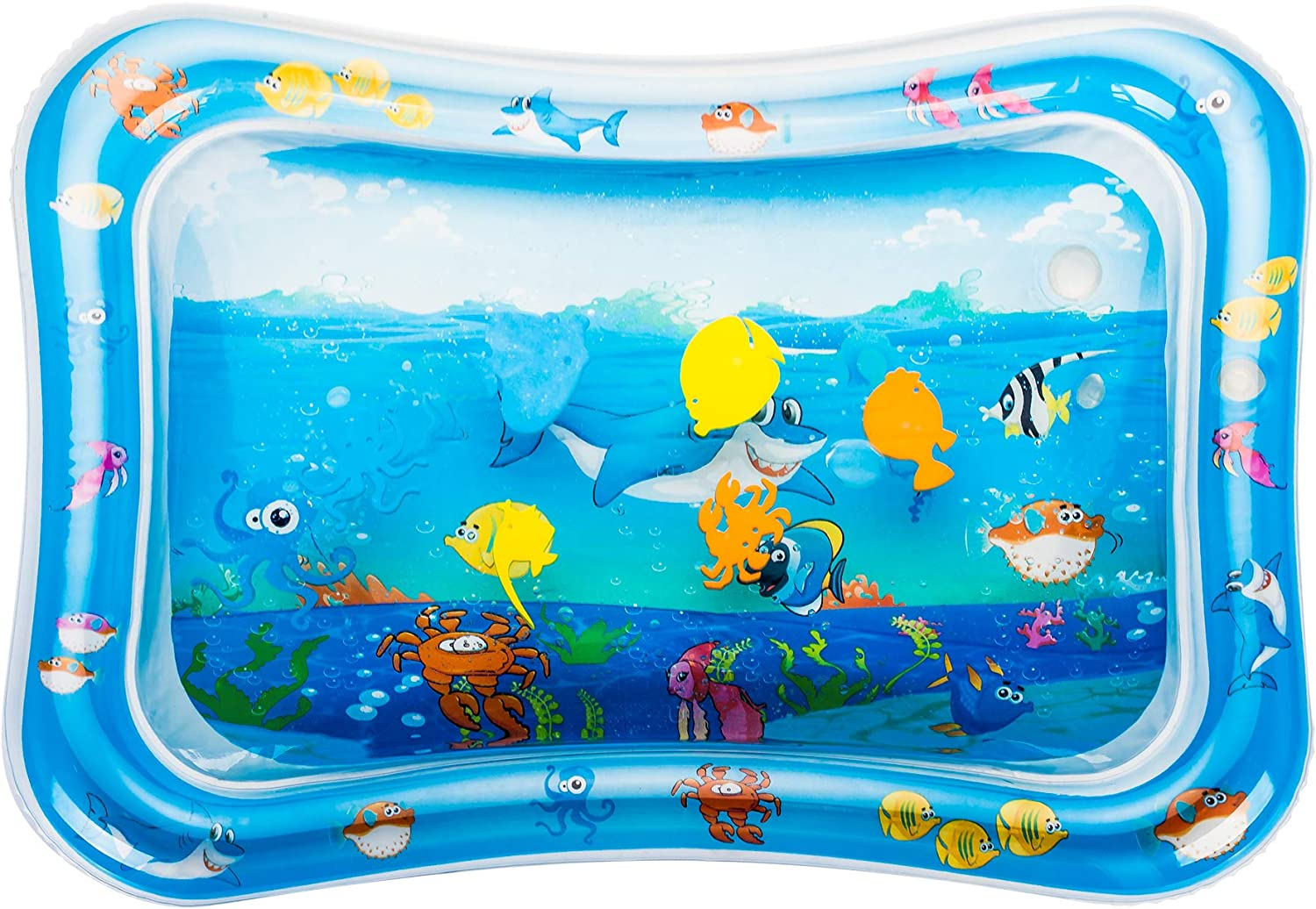 Pekirun Tummy Time Water Play Mat,Early Activity Development Inflatable Mat for Babies,Fun Cute Floating Water Toys for 3-9 Months Baby Promotes Visual Stimulation Growth