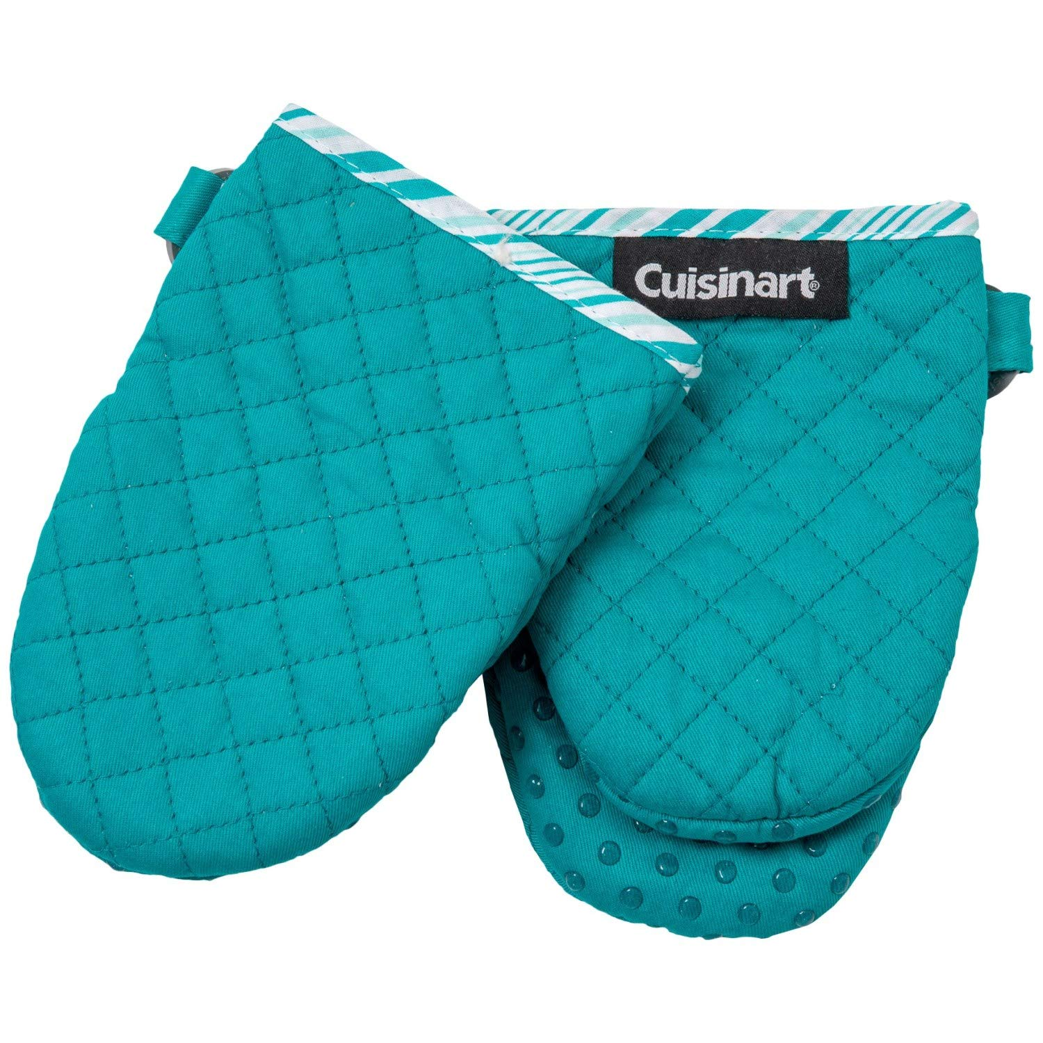 Cuisinart Lake Blue Oversized Mini Oven Mitts with Silicone Dots - 2-Pack