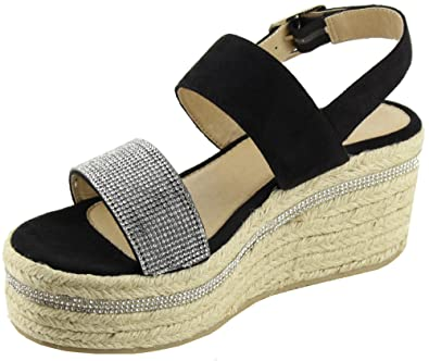 6d2f8a95119 Cambridge Select Women s Open Toe Slingback Crystal Rhinestone Woven Braided  Espadrille Platform Wedge Sandal (8.5