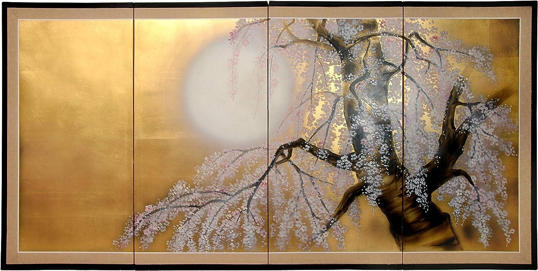 "Oriental Furniture 36"" Gold Leaf Sakura Blossom"