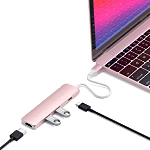 Satechi Slim Aluminum Type-C Multi-Port Adapter with USB-C Pass-Through, 4K HDMI, USB 3.0 - Compatible with 2020/2018 MacBook Air, 2020/2018 iPad Pro, 2020/2019 MacBook Pro (Rose Gold)