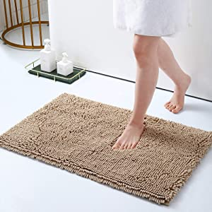 Smiry Luxury Chenille Bath Rug, Extra Soft and Absorbent Shaggy Bathroom Mat Rugs, Machine Washable, Non-Slip Plush Carpet Runner for Tub, Shower, and Bath Room(20''x32'', Beige)