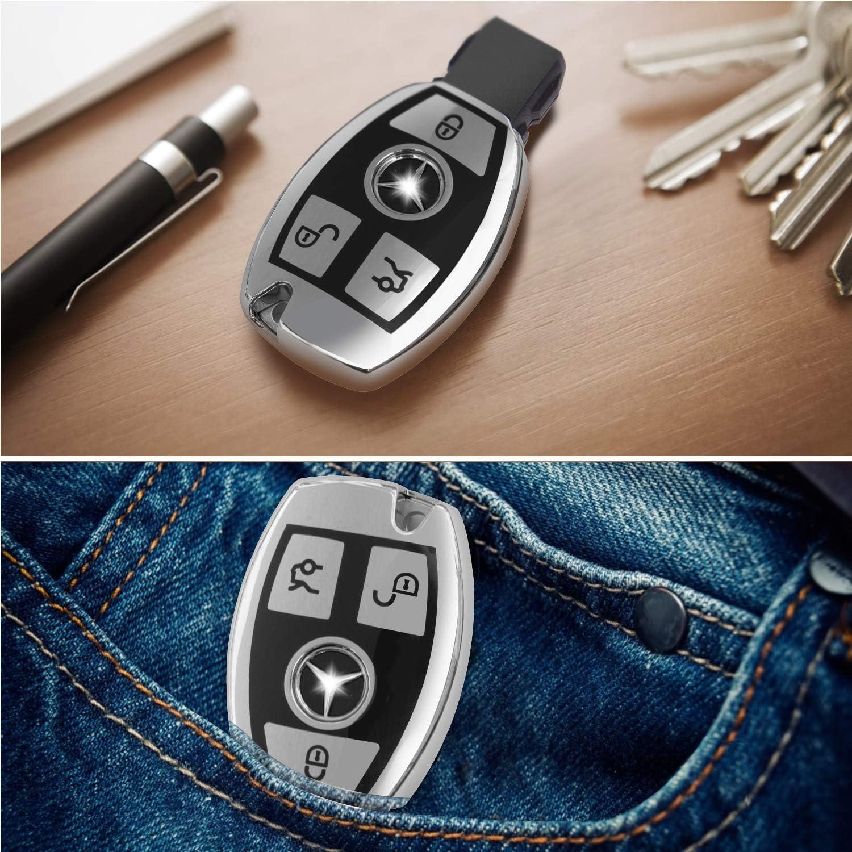 Key Fob Case for Mercedes Benz C E M S CLA CLS CLK GLC GLK G Class Premium Soft TPU Full Cover Protection for Mercedes Benz Smart Remote Key Fob Holder for Mercedes Benz Key Fob Cover Pink