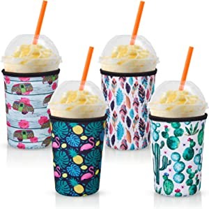 4 Pieces Iced Coffee Beverage Sleeves Neoprene Insulator Cup Holders Cold Drinks Holder Sleeves for Medium 22-24 oz Cold and Hot Beverages