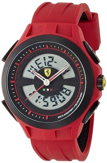 Ferrari 830019 - Reloj analógico - Digital de Cuarzo para Hombre, Correa de Silicona Color