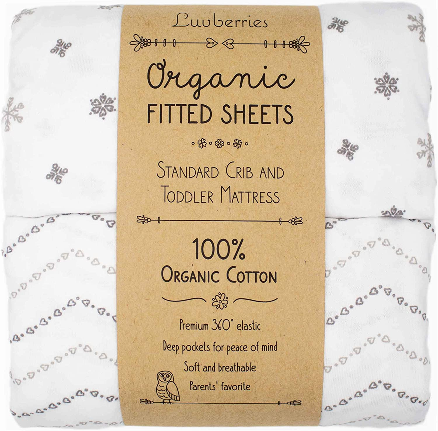 Luvberries - 100% Organic Cotton Fitted Crib Sheets (Set of 2), for Standard Crib and Toddler Mattresses, for Baby and Toddler, Boys & Girls, Unisex