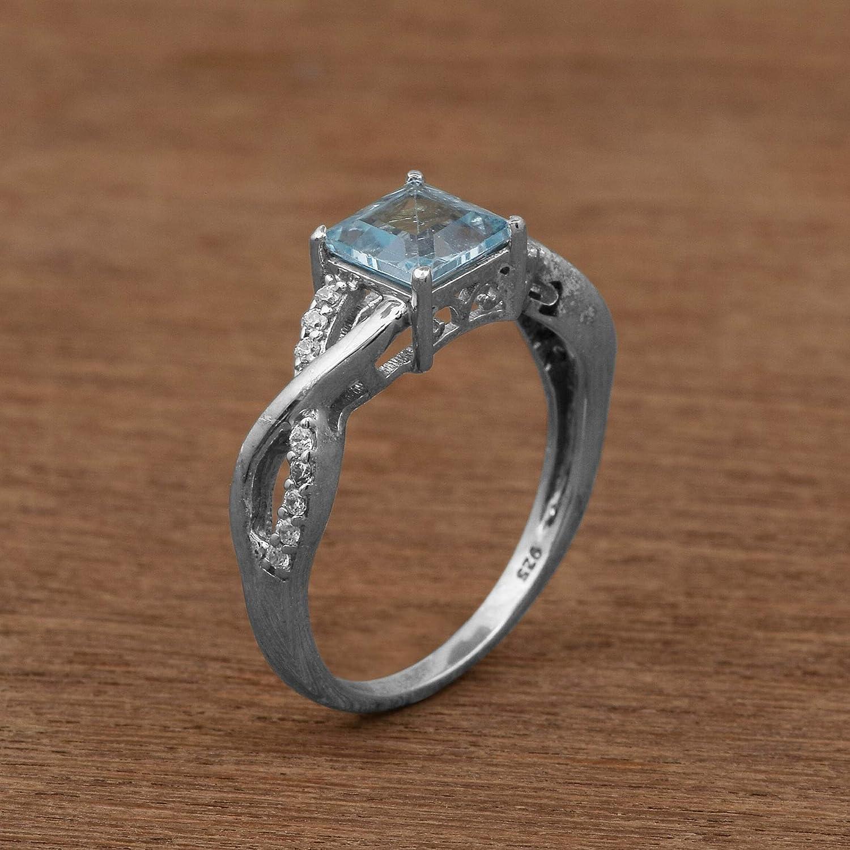 Blue Topaz /& Cubic Zircon Gemstone Wave Shank Sparkle Ring 925 Sterling Silver