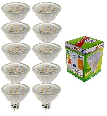Trango 10 Pack regulable GU5, 3 MR16 12 V Bombilla LED luz blanca cálida-