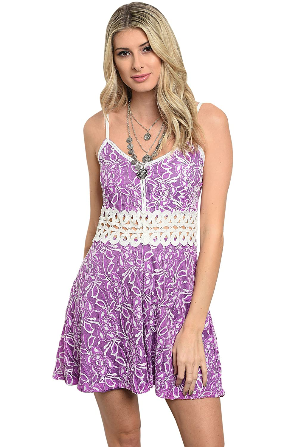 Pretty Purple And Cream Floral Eyelet Lace Tank Dress At