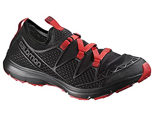 Salomon Men's Crossamphibian Outdoor Watershoes Black / Black / Radiant Red  7.5 and Free Collapsing Waterbottle