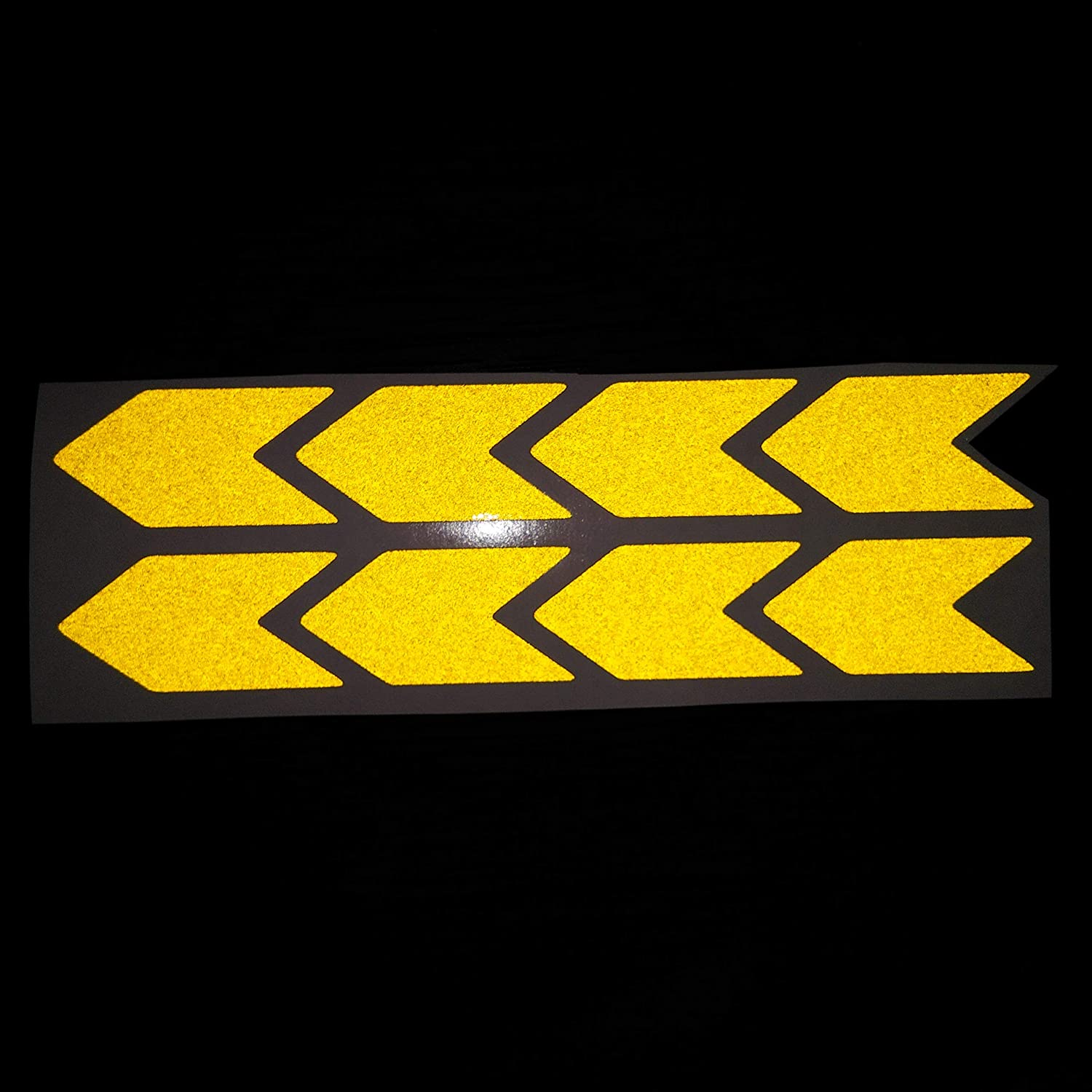 Chevron Shaped Yellow Reflective Sticker Decal Arrow 8x 25x50 mm Sign With Flash Night PVC Vinyl Sport Motorbike Helmet Motorcycle Bike Racing Car Badge Door Window Tailgate Truck Trunk Side Rear Emblem Decals Laptop Notebook Mac