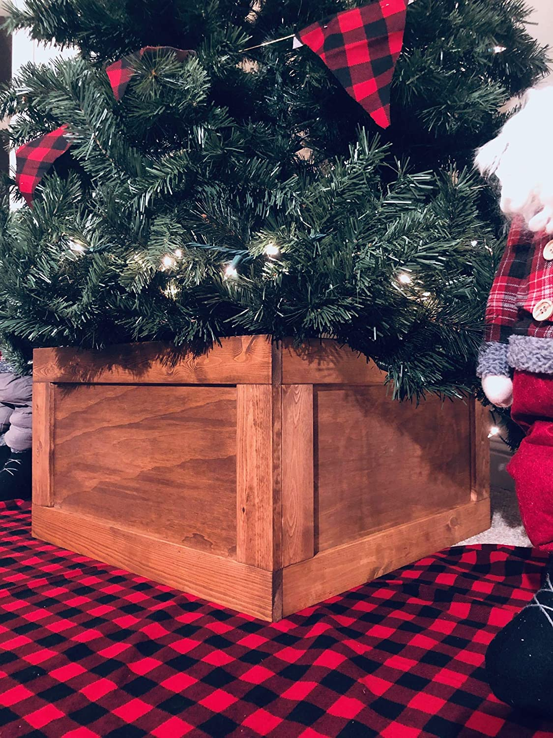Finn Co Home Rustic Wood Christmas Tree Box Collar Christmas Tree Skirt Alternative Tree Skirt Tree Stand Cover