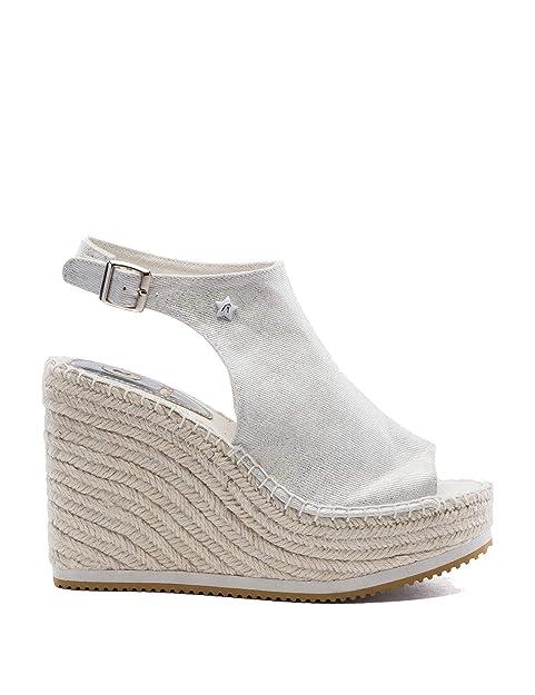 REPLAY - Alpargatas para Mujer Plateado Plata: Amazon.es: Zapatos y complementos
