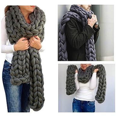 Amazon Com Handmade Chunky Wool Scarf Arm Knit Super Giant Wool