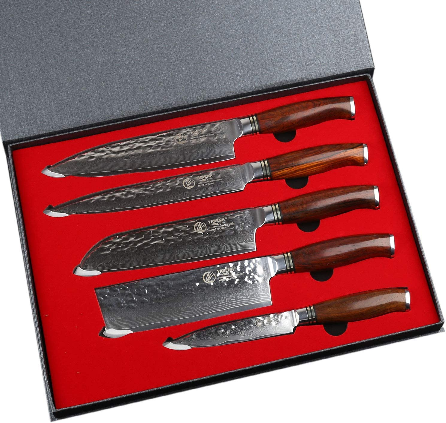 Amazon Com Kitchen Knife Set Professional 5 Piece Yarenh Best Chef Knife Set Damascus Stainless Steel Full Tang Galbergia Wood Handle Sharp Vegetable Knives Sets Htt Series Kitchen Dining