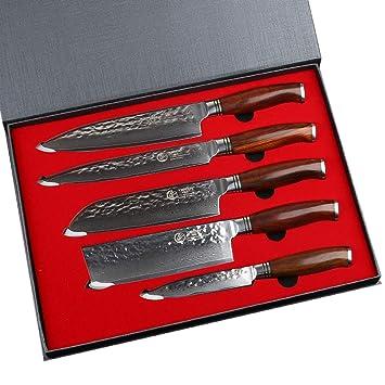 Yarenh 5 Pieces Set Couteaux Cuisine Professionnel Couteaux En Acier