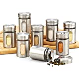 Cook N Home 02504 8 Piece Spice Bottle with Stainless Steel Cap Set, Silver