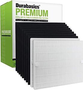 Durabasics True HEPA Filter Set Compatible with Coway AP-1512HH | 2 HEPA Filters & 8 Pre-Cut Carbon Prefilters | Compatible with Coway AP-1512HH Filter and Mighty Air Coway Air Purifiers | Coway Filter Replacement