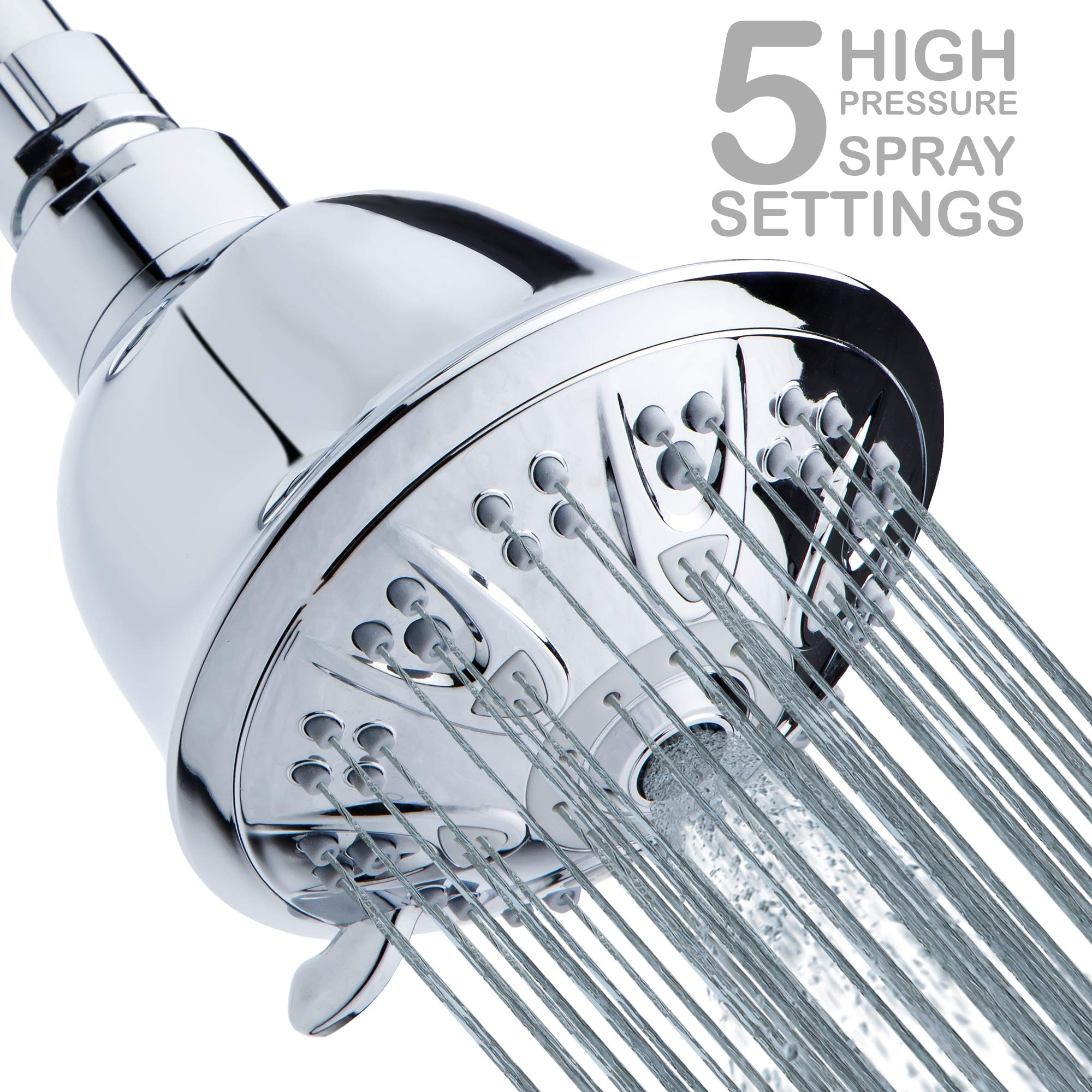 High-Pressure Shower Head 5-Setting - 4'' Luxury Chrome Shower-head - Powerful Shower Spray Even with Low Water Pressure in Supply Pipeline - Low Flow Water Efficient Showerhead - Easy Installation