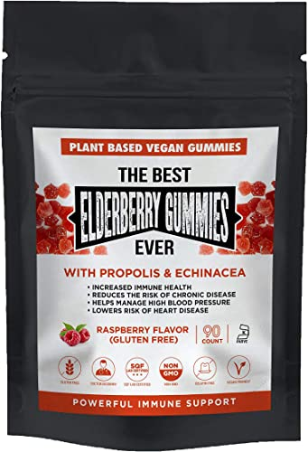 The Best Elderberry Gummies Ever with Echinacea Propolis with Vitamin C Plant Based Pectin Vegan Natural Raspberry Flavor – Immune Support Booster Adults and Kids – Non-GMO – Dietary Supplement 90CT