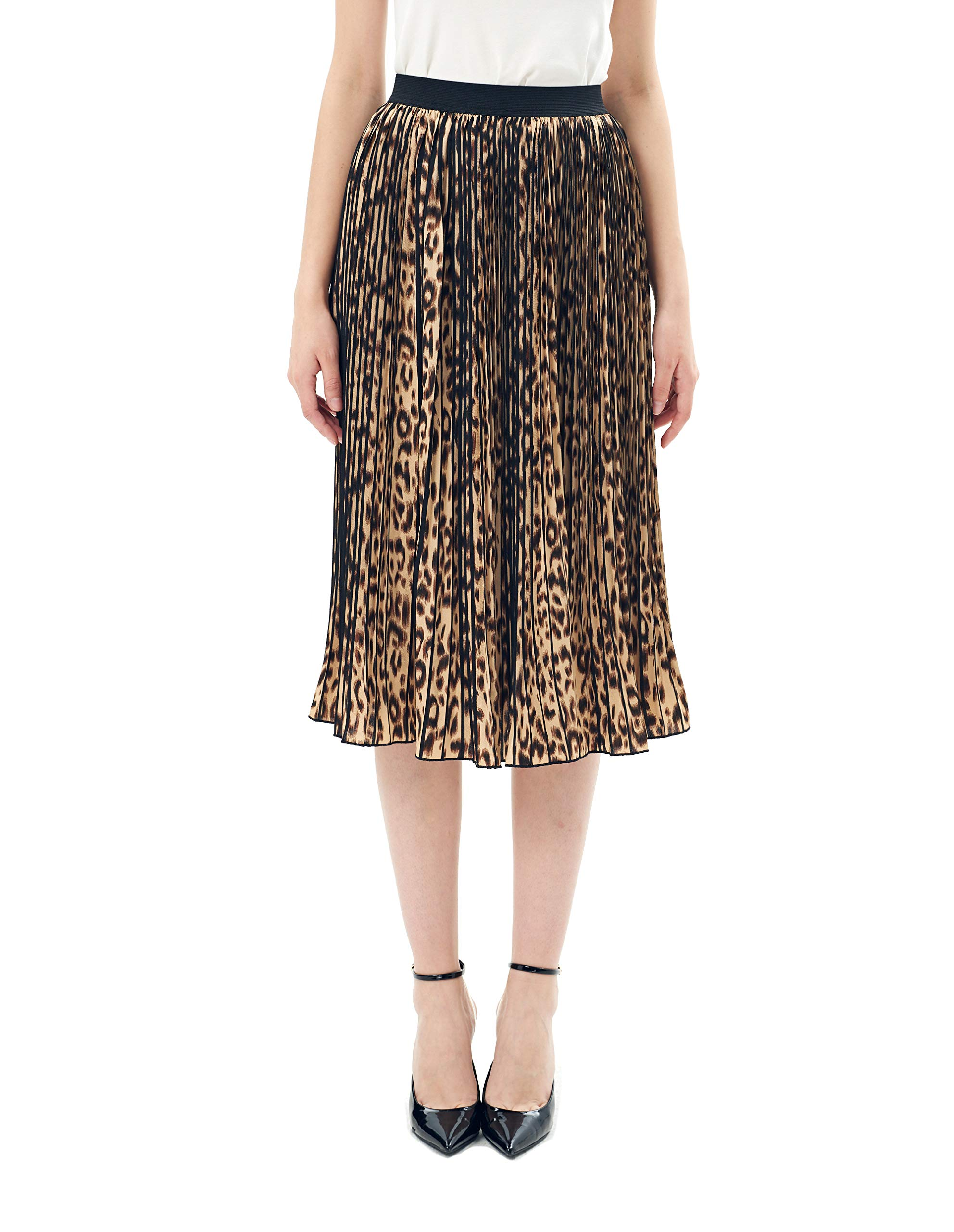 Charis Allure Women's Leopard Chiffon A-Line Pleated Midi Skirt